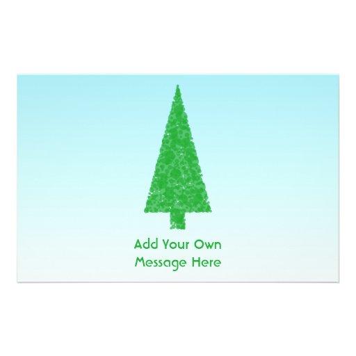 Árbol de navidad verde. Azul y blanco. Texto de en Tarjetón