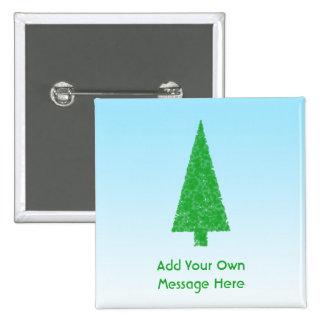 Árbol de navidad verde. Azul y blanco. Texto de en Pin Cuadrada 5 Cm