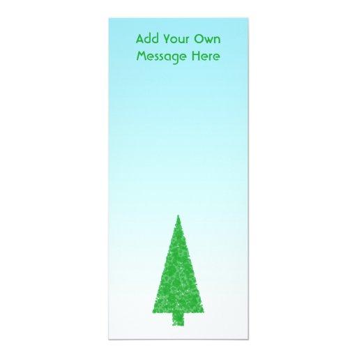 Árbol de navidad verde. Azul y blanco. Texto de Invitación 10,1 X 23,5 Cm