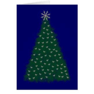 Árbol de navidad verde, caballos corrientes de la tarjetas