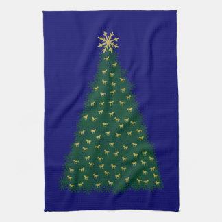 Árbol de navidad verde, caballos corrientes del toalla de cocina