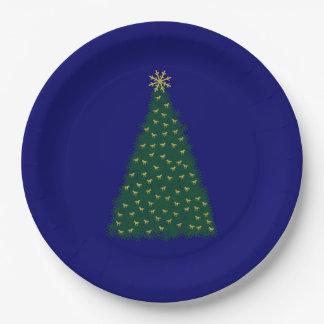 Árbol de navidad verde, caballos corrientes del plato de papel 22,86 cm