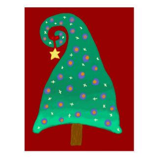 Árbol de navidad verde caprichoso tarjetas postales