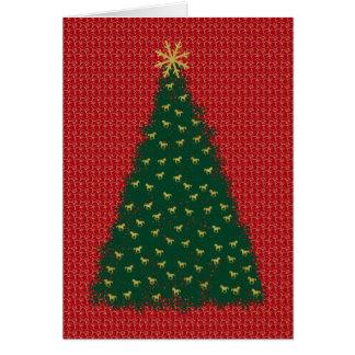 Árbol de navidad verde con los caballos corrientes tarjeta de felicitación