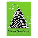 Árbol de navidad verde de la cebra tarjetas