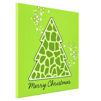 Árbol de navidad verde de la jirafa impresión en lienzo