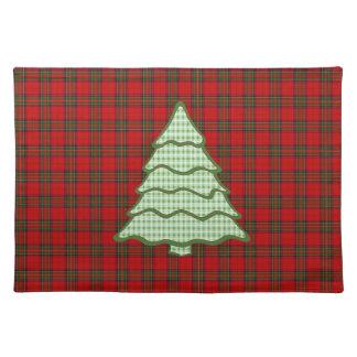 Árbol de navidad verde de la tela escocesa manteles individuales