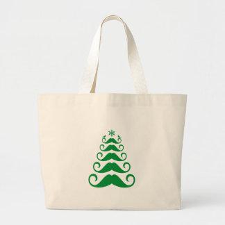 Árbol de navidad verde del bigote bolsa tela grande