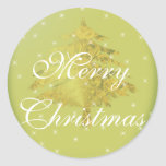 Árbol de navidad verde del oro del pegatina con la