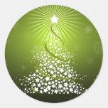 Árbol de navidad verde del vector pegatina redonda