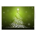 Árbol de navidad verde del vector tarjeta de felicitación