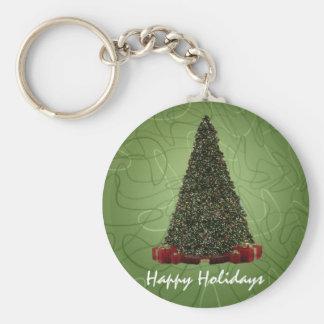 Árbol de navidad verde enorme en la parte llavero redondo tipo pin