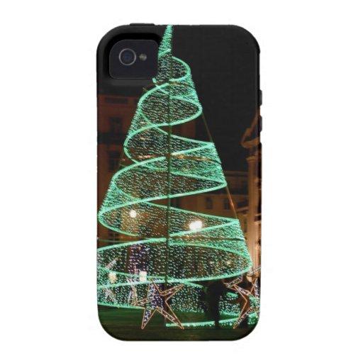 Árbol de navidad verde iluminado vibe iPhone 4 carcasa
