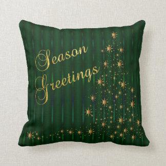 Árbol de navidad verde oscuro y del oro de la cojín