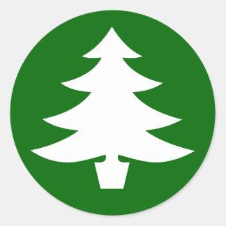 Árbol de navidad, verde pegatina redonda