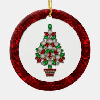 Árbol de navidad verde rojo de las joyas del ornamento para arbol de navidad