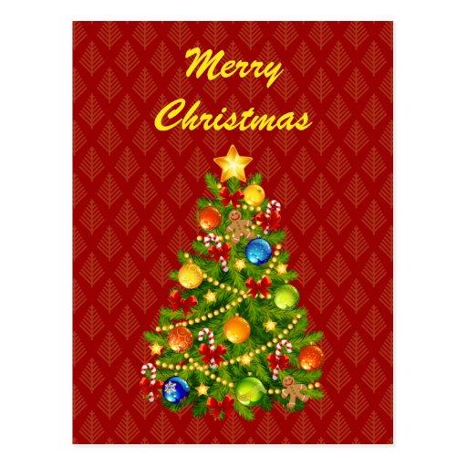 Árbol de navidad verde tarjetas postales