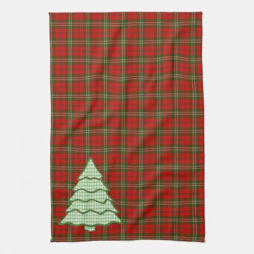 Árbol de navidad verde V3 de la tela escocesa Toallas De Mano