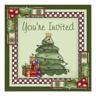 """Árbol de navidad y celebración de días festivos invitación 5.25"""" x 5.25"""""""