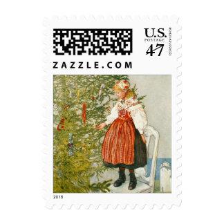 Árbol de navidad y chica joven del vintage de Carl Estampilla
