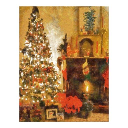 Árbol de navidad y chimenea viejos de la moda membrete a diseño