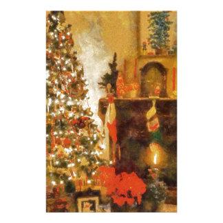 Árbol de navidad y chimenea viejos de la moda papelería personalizada