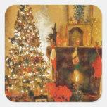 Árbol de navidad y chimenea viejos de la moda calcomanías cuadradases