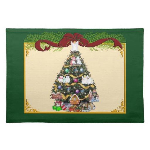 Árbol de navidad y cinta roja Placemat Manteles