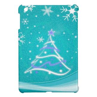 Árbol de navidad y copos de nieve, turquesa