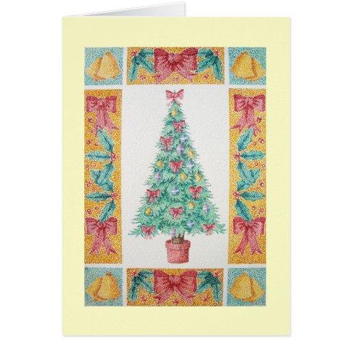 Árbol de navidad y decoraciones y arcos del rojo felicitacion