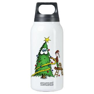 Árbol de navidad y duende felices del adornamiento botella isotérmica de agua