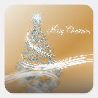 Árbol de navidad y estrella elegantes del oro pegatina cuadrada