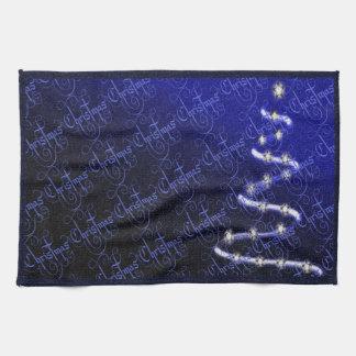 Árbol de navidad y estrellas - toalla de mano