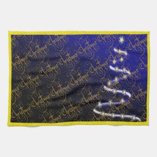 Árbol de navidad y estrellas - toallas de mano