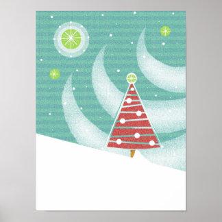 Árbol de navidad y luces rojos Nevado con la Poster