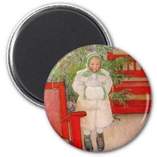 Árbol de navidad y niño en pieles imán redondo 5 cm