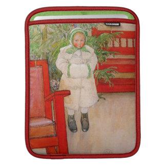 Árbol de navidad y niño en pieles mangas de iPad