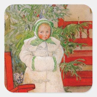 Árbol de navidad y niño en pieles pegatina cuadrada