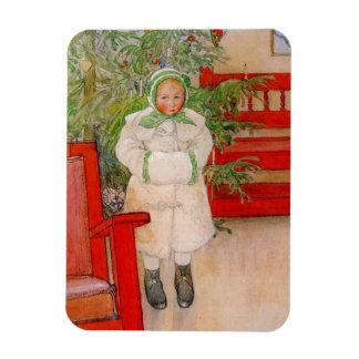 Árbol de navidad y niño en pieles rectangle magnet