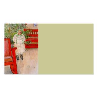 Árbol de navidad y niño en pieles plantilla de tarjeta de visita