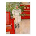Árbol de navidad y niño en pieles tarjetas postales