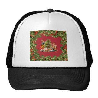 Árbol de navidad y niños del vintage gorros bordados