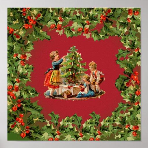 Árbol de navidad y niños del vintage impresiones