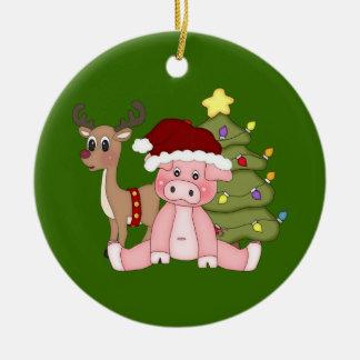 Árbol de navidad y ornamento del cerdo de Rudolf Adorno Navideño Redondo De Cerámica