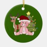 Árbol de navidad y ornamento del cerdo de Rudolf Ornatos