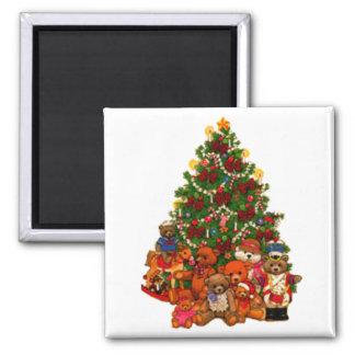 Árbol de navidad y osos de peluche imán para frigorifico