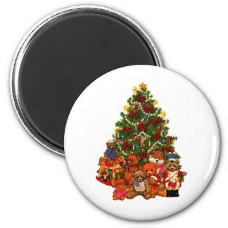 Árbol de navidad y osos de peluche imán de frigorifico