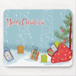 Árbol de navidad y presentes contemporáneos en nie alfombrillas de raton