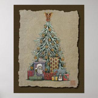 Árbol de navidad y presentes poster
