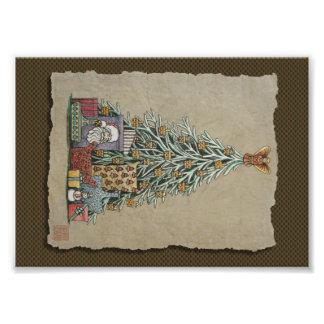 Árbol de navidad y presentes arte fotográfico